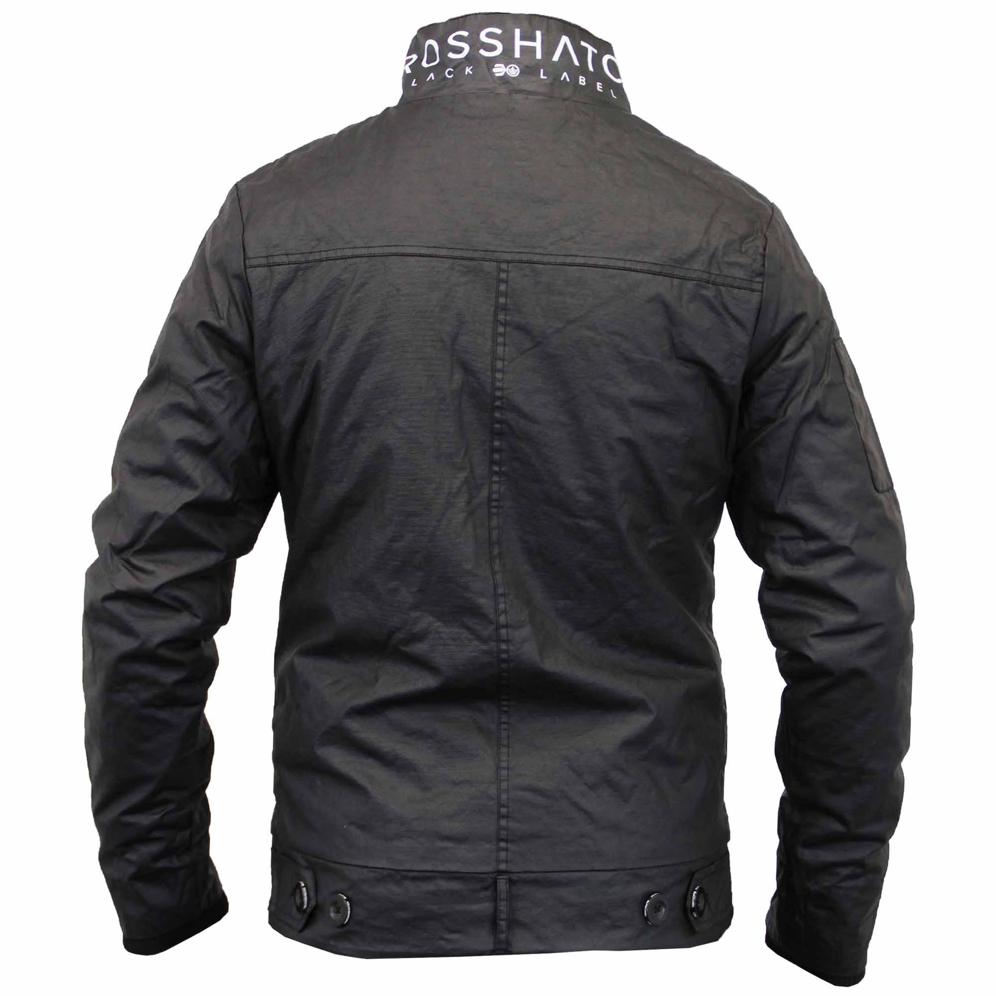 Giacca da Uomo Crosshatch Cappotto Imbottito Doppio Strato Zip Collo A Imbuto Button badge NUOVO