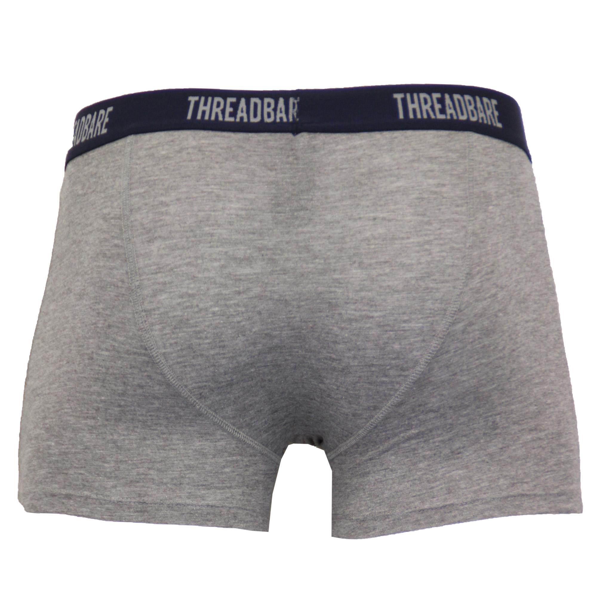 Mens Boxer Threadbare Underwear Plain Hipster 3 Pack Short Designer Trunks Plain