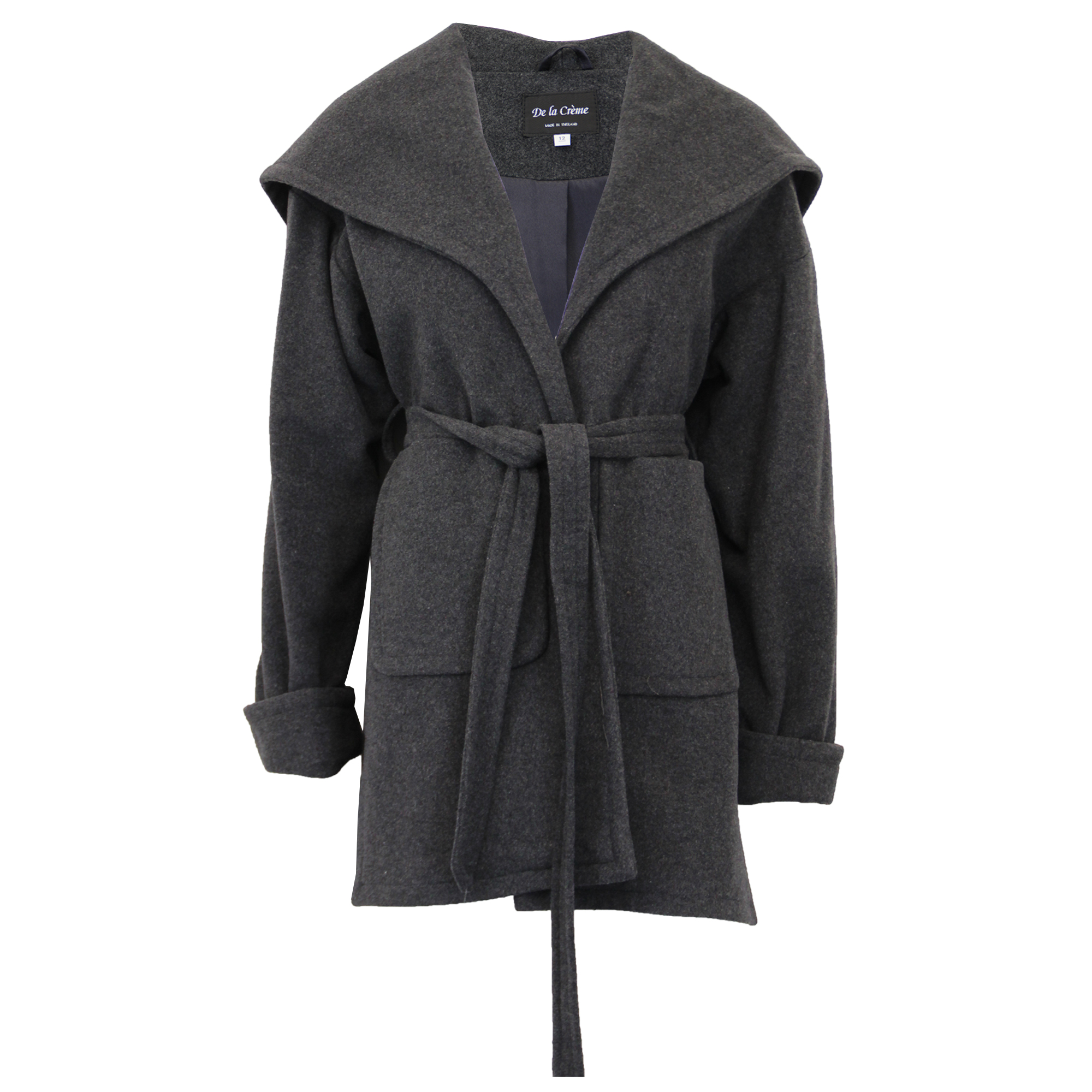 Ladies Hooded Wool Cashmere Coat Womens Belted Jacket ...