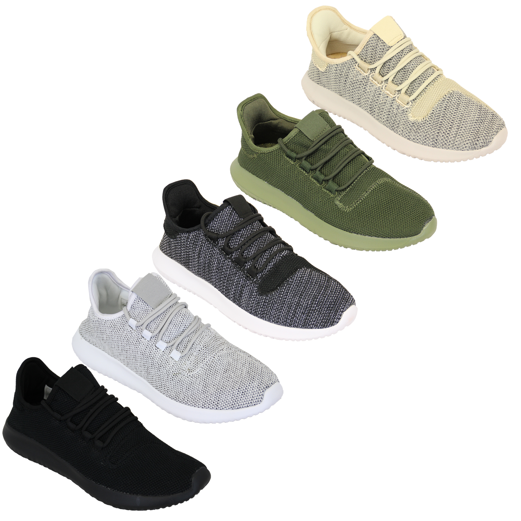 Mens Trainers Jogging Knit Shoes Lace Up Walking Running Sports Sneakers Gym New