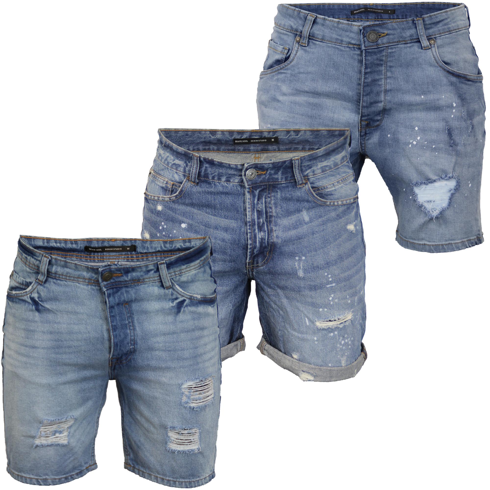 Da Uomo Strappato Pantaloncini di Jeans Brave Soul Gregor Pantaloni Jack al Ginocchio Effetto Anticato