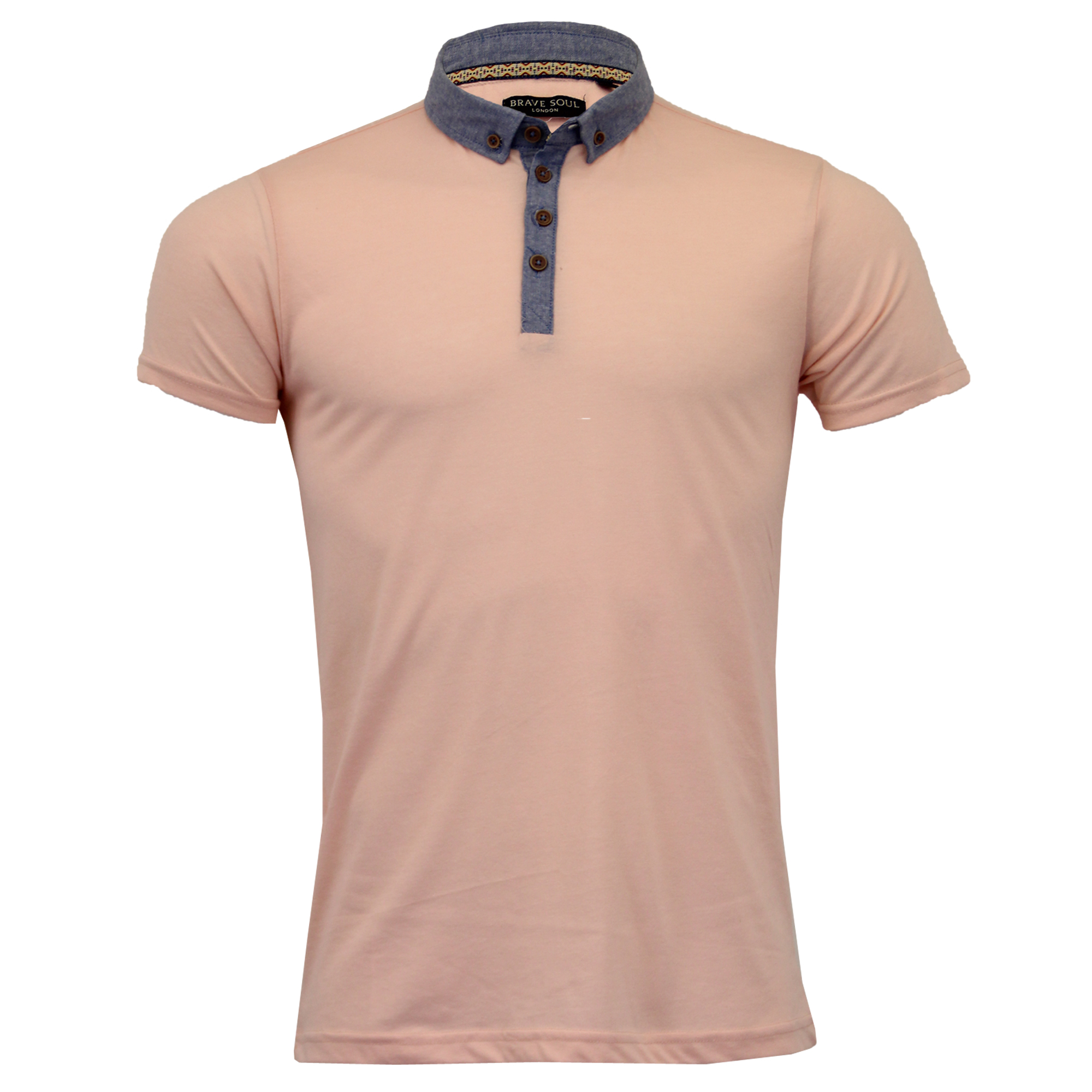 Mens Polo T Shirt by Brave Soul /'Chimera/' Short Sleeved Chambray Top Summer