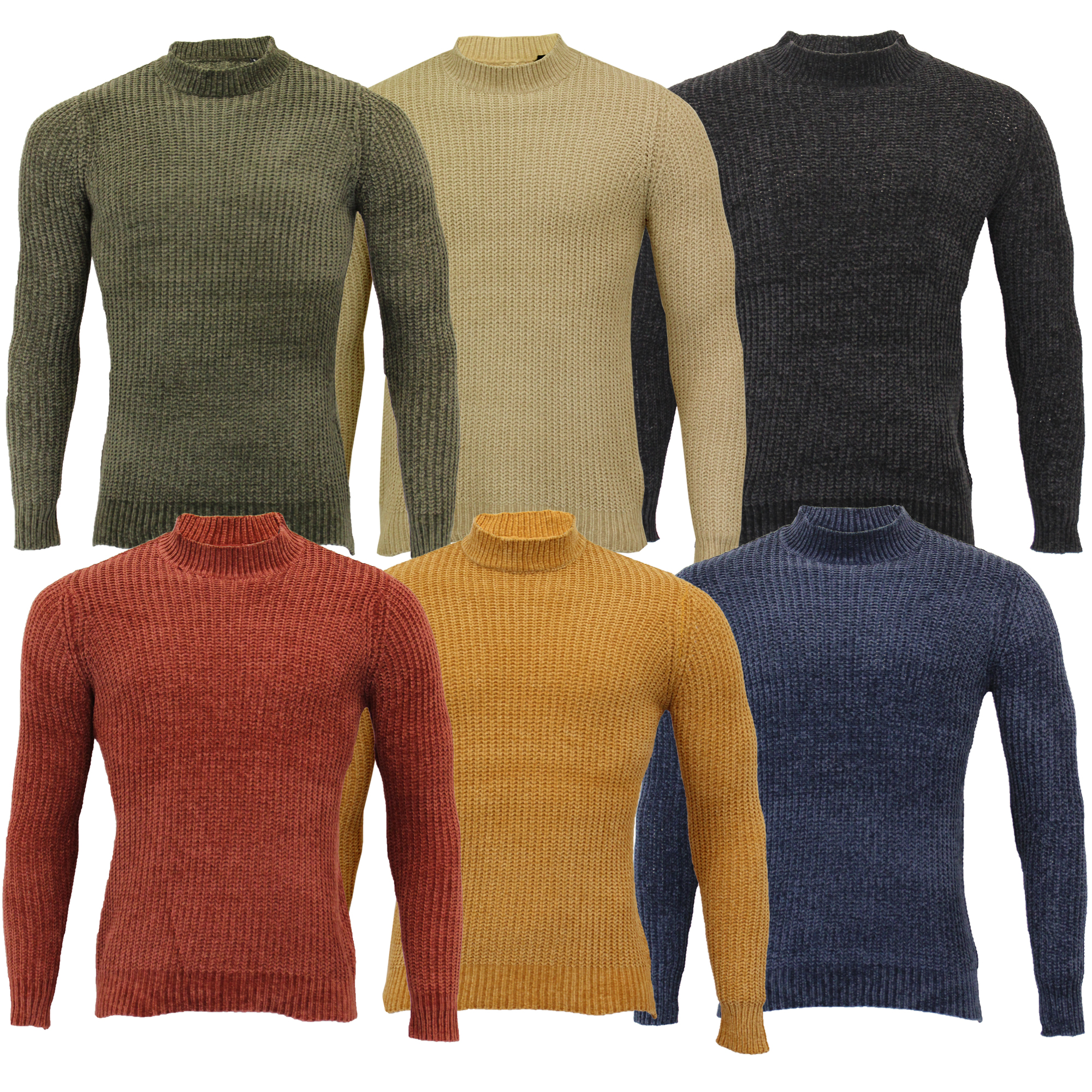 Homme Chenille Pull Brave Soul Câble Taylor Turtle Neck Pullover Top