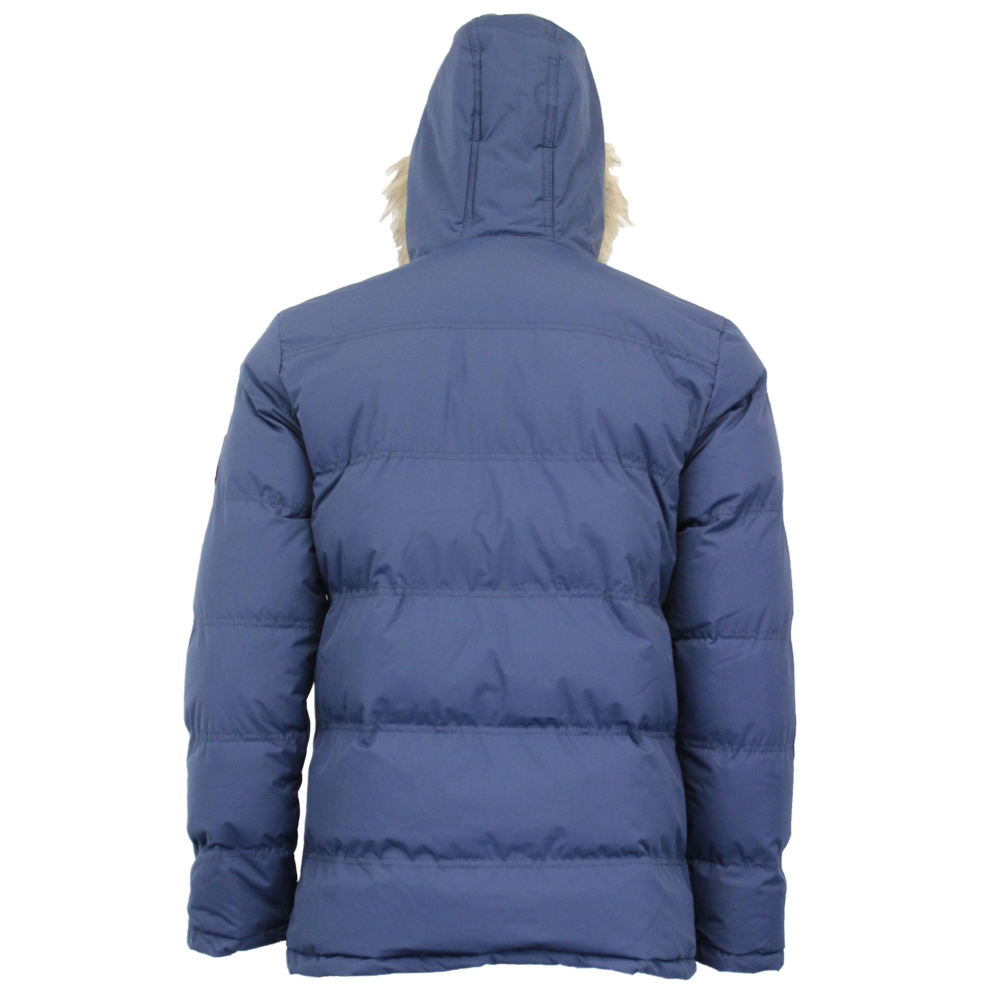 Mens Jacket Threadbare Coat Padded Quilted Hoodie RUNCORN Fur Zip Lined Winter