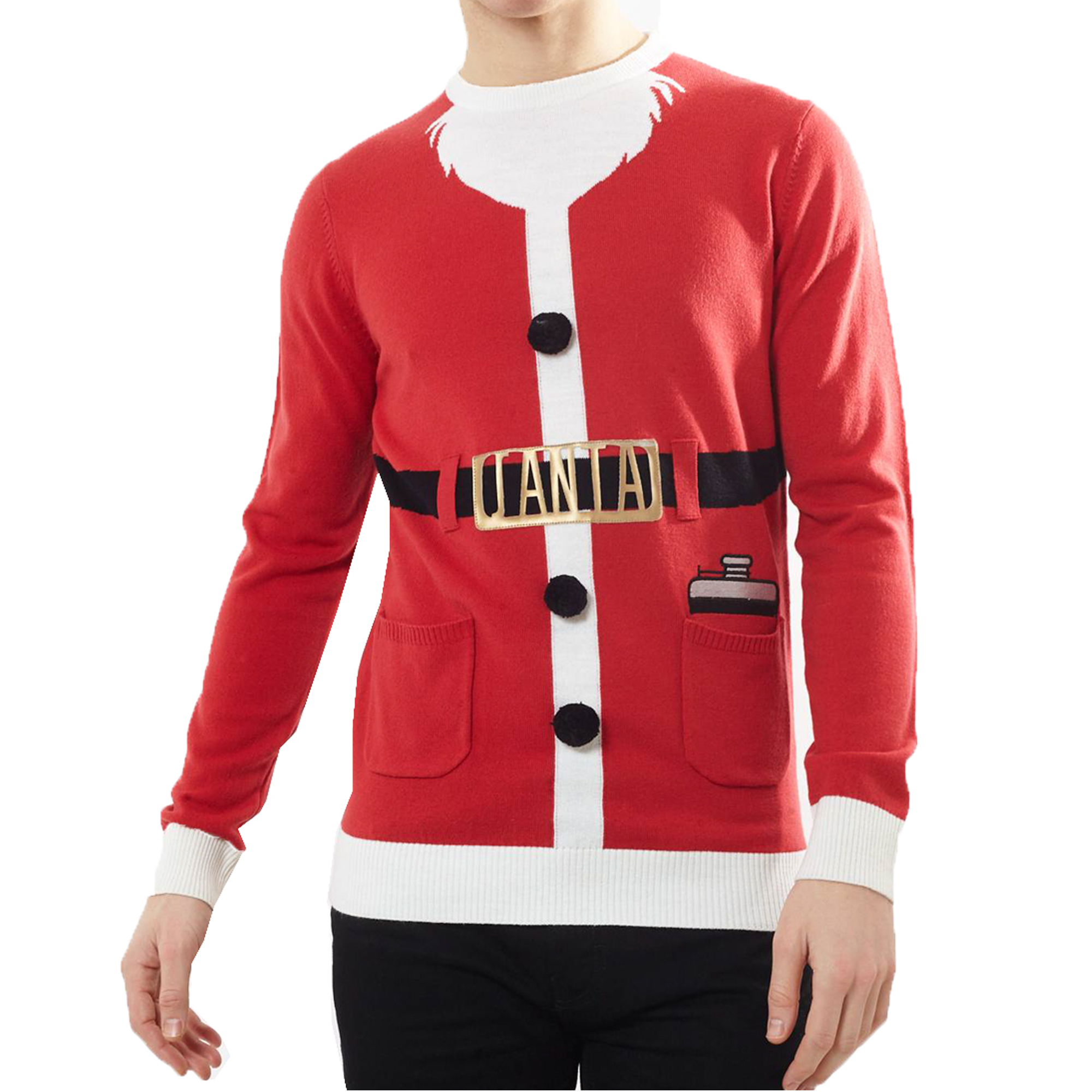 Maglione da Uomo Natale Brave Soul Natale Novità Felpa Con Cappuccio Girocollo Babbo Natale Elfo