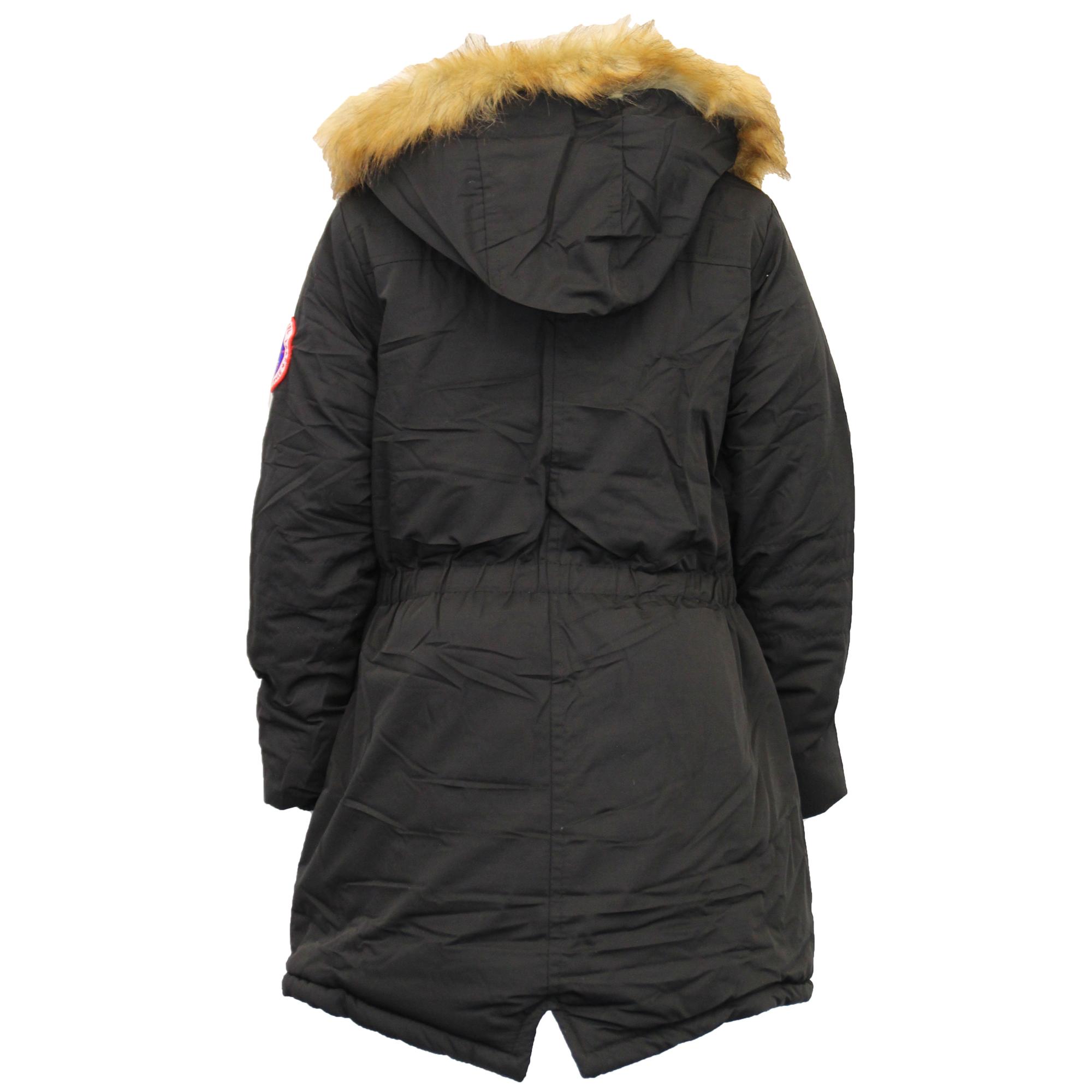 Ragazze Bambini Lungo Parka Cappotto Imbottito Felpa Con Cappuccio Sherpa Foderato in Pile Invernale Nuovo