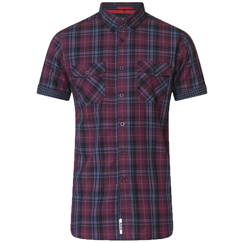 Mens Shirt Duke D555 Big King Size Gingham Checked HANK Short Sleeved HERBIE New