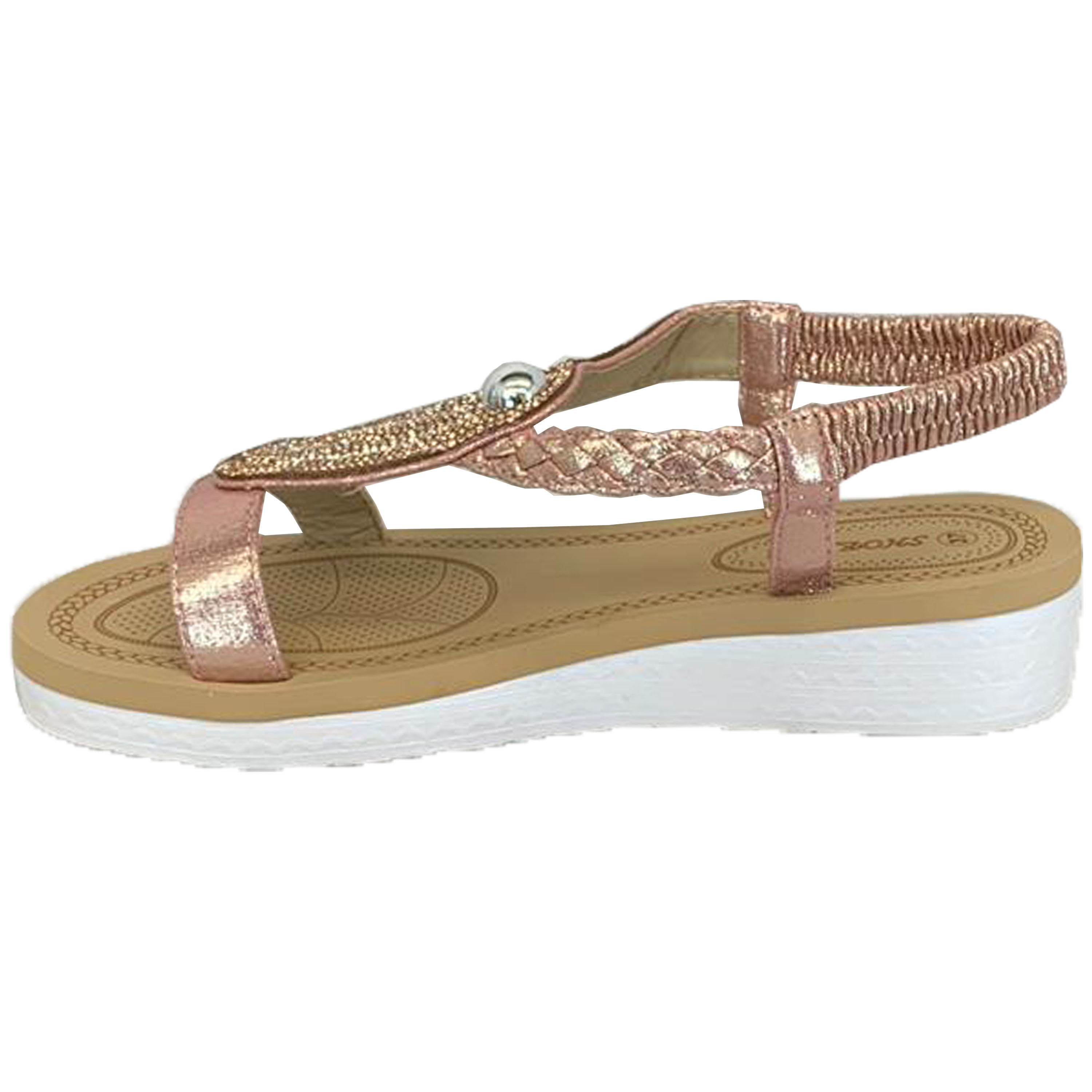 Ladies Sandals Womens Diamante Sling Back Open Toe Shoes Fashion Summer New