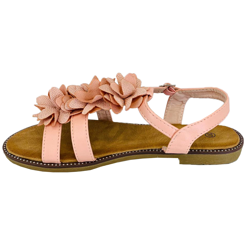 Ladies Suede Look Sandals Womens Open Toe Buckle Fringe Flowers Summer Fashion