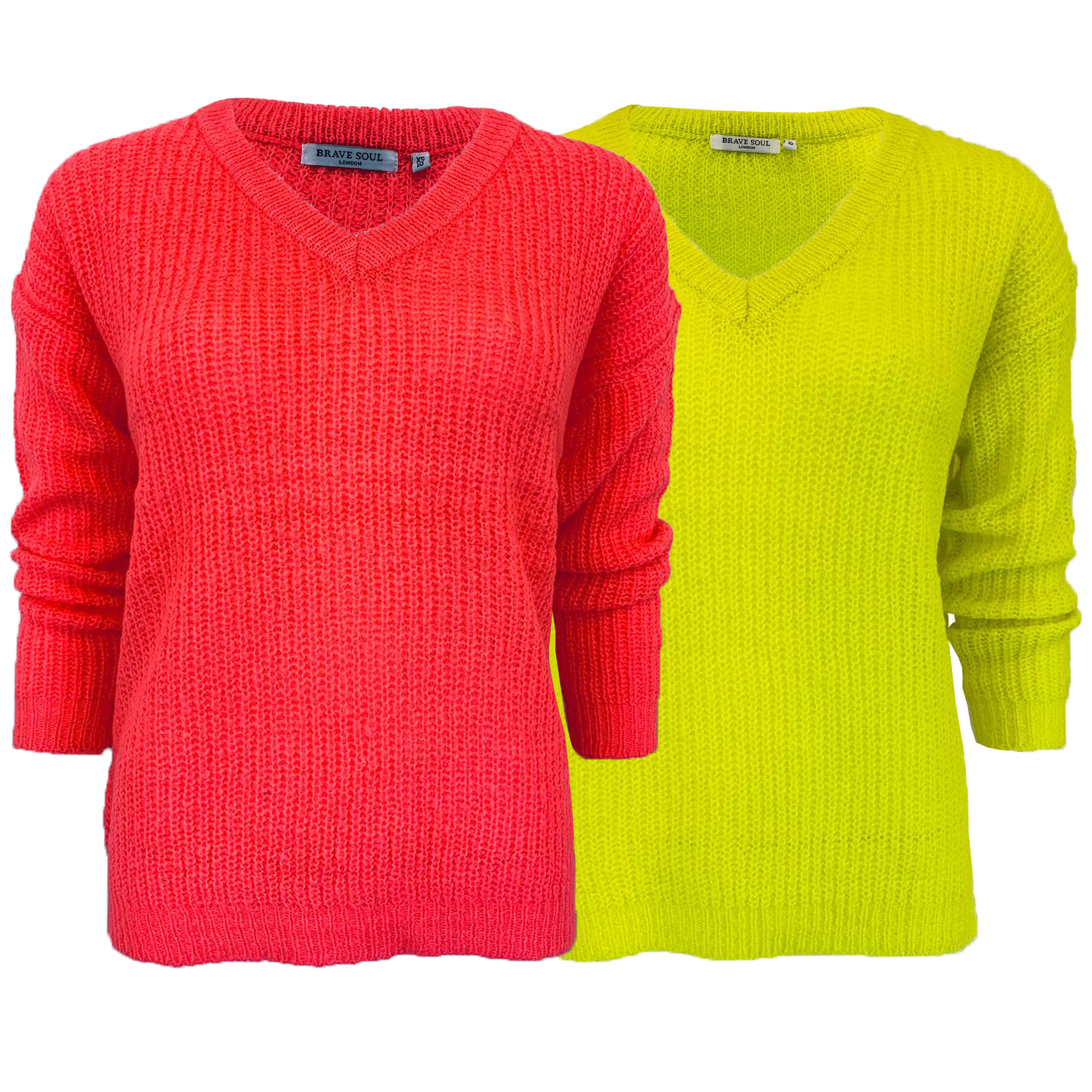 Ladies NEON Knitted V Neck Jumper Womens Top Long Sleeved Casual Fashion New