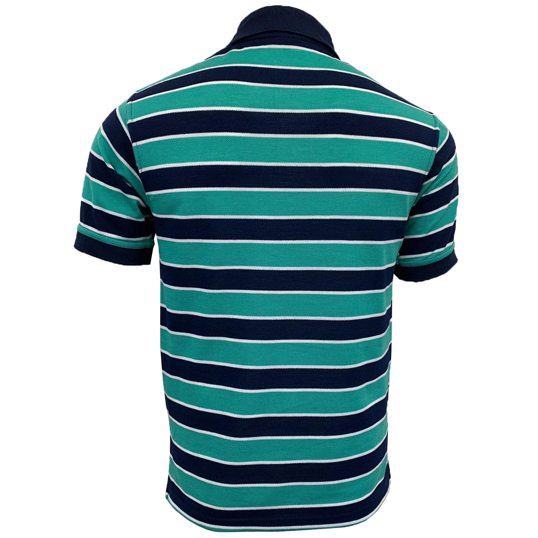 Mens Stripe Pattern Pique Polo T Shirt Top Short Sleeved Fashion Casual Summer