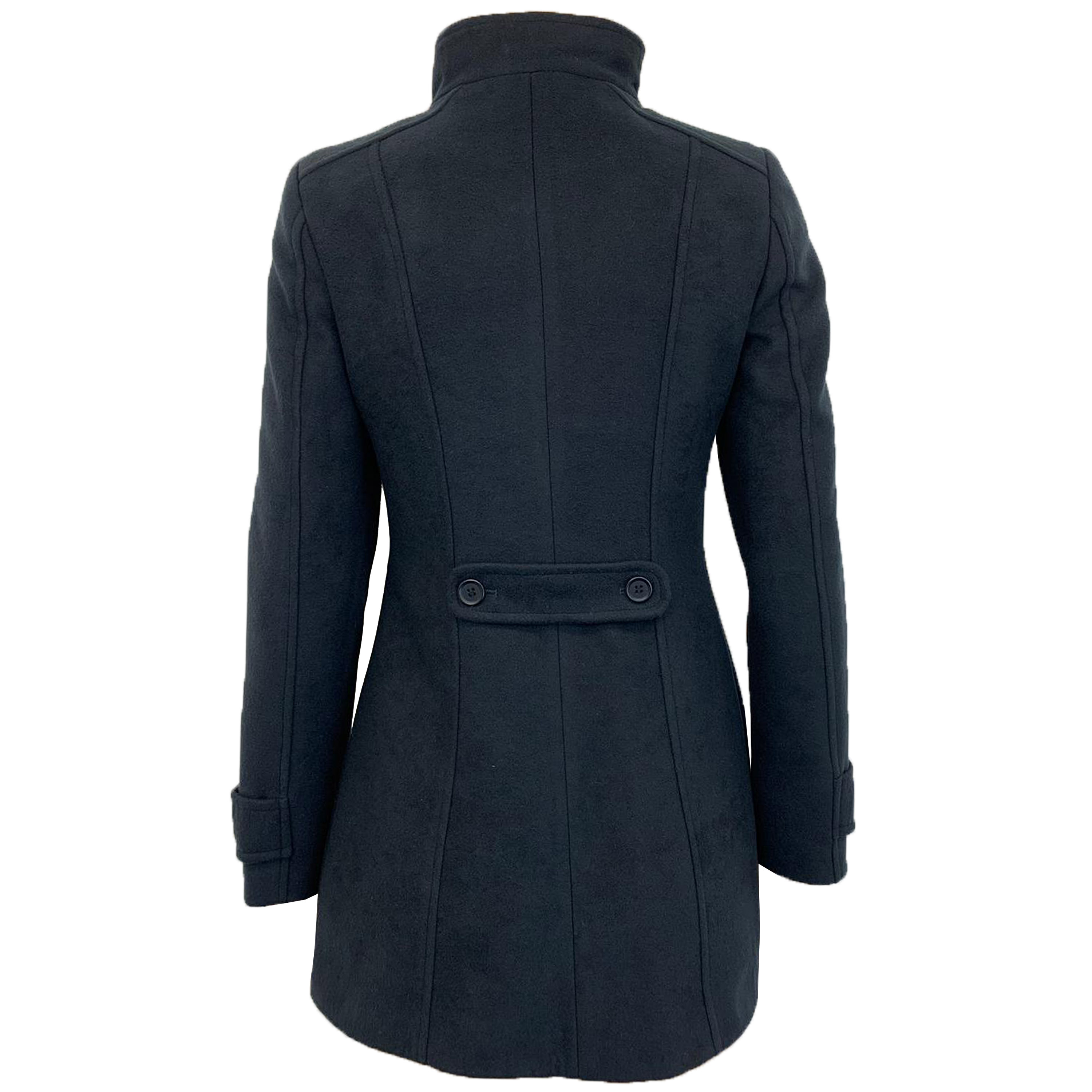 Ladies Coat Womens Double Breasted Jacket Wool Look Button Fashion Cashmere New