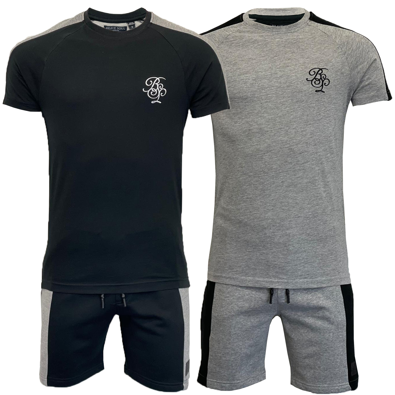 Homme Pyjama Set Alex Brave Soul T shirt top court 2 pièces de détente Survêtement