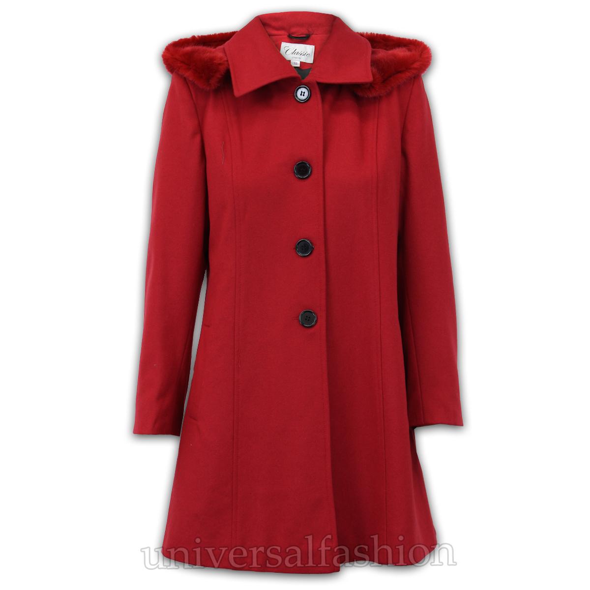 Ladies Coat Womens Jacket Wool Look Faux Fur Button Long Hooded Fashion Warm New