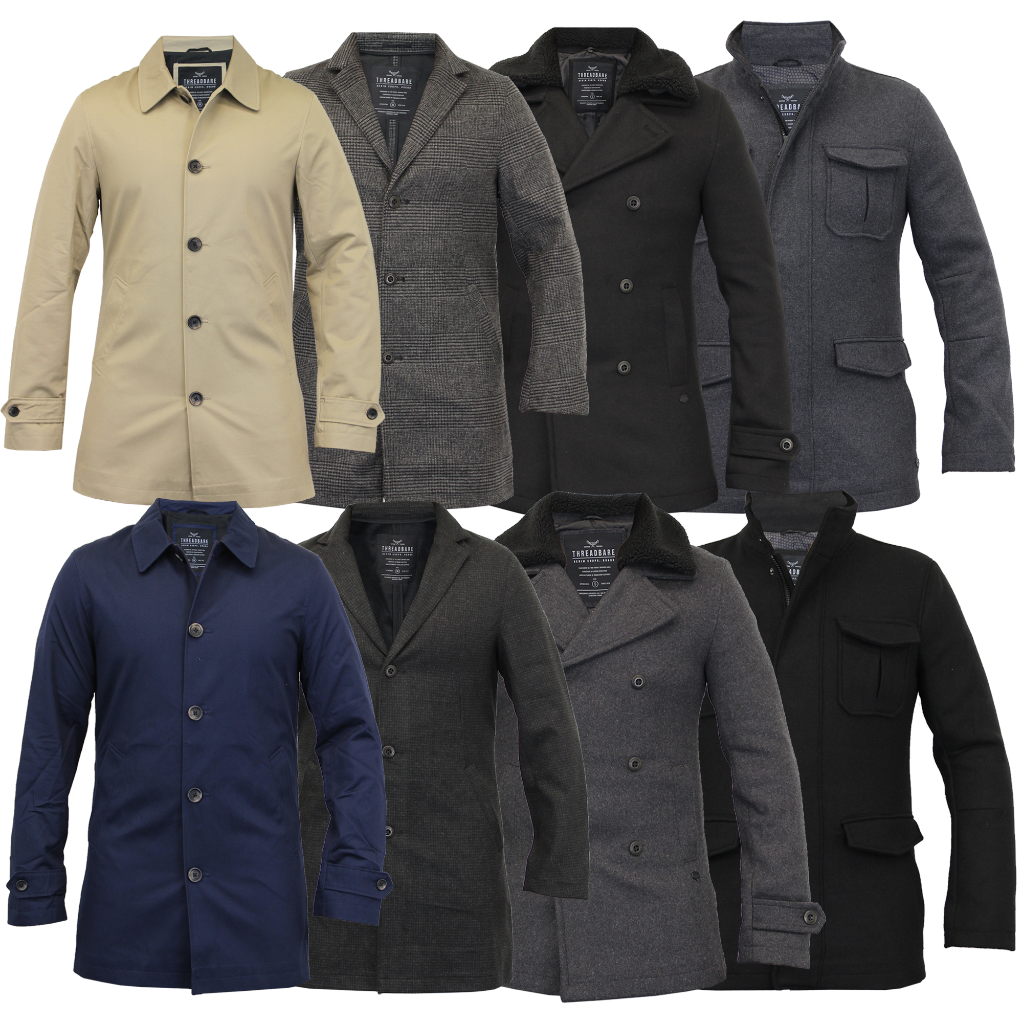 Mens Wool Mix Jacket Threadbare Trench Coat Blazer Tweed Sherpa ...