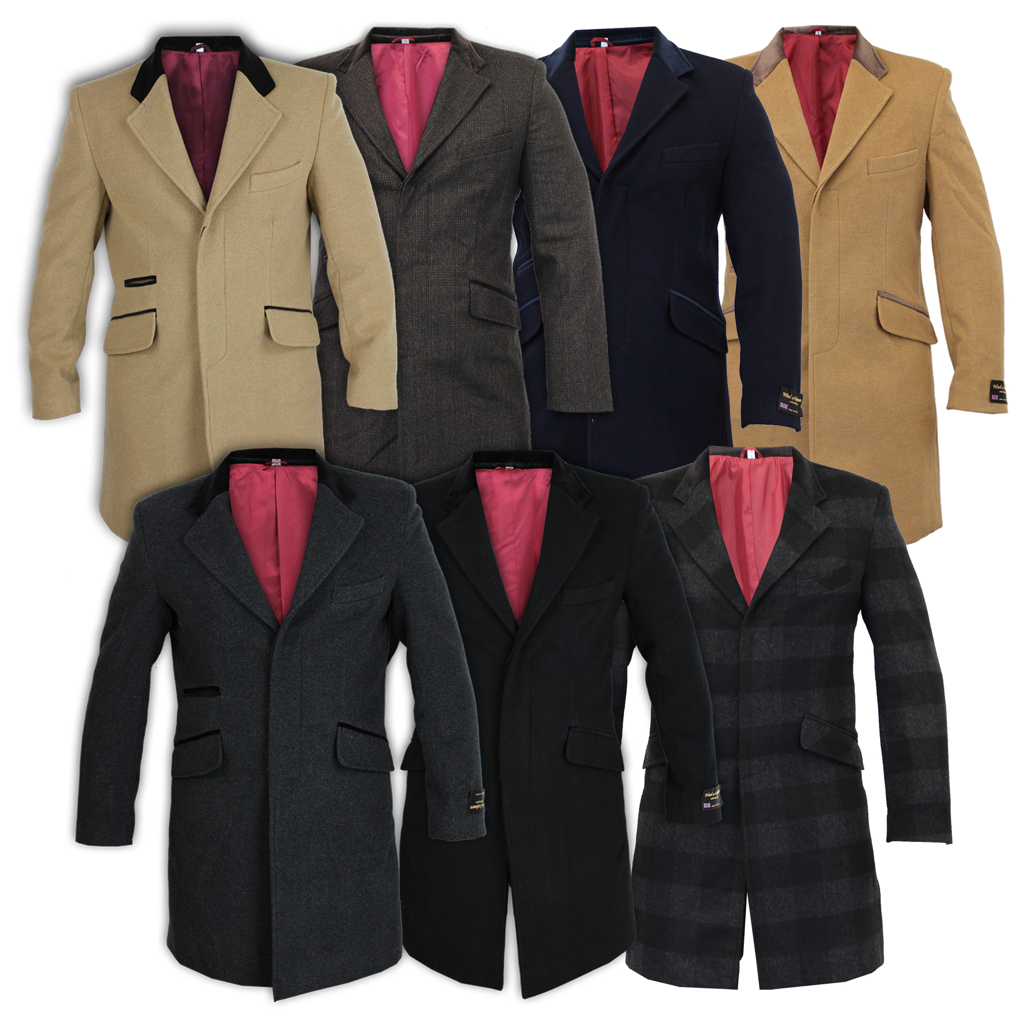 Mens Coat Wool Jacket Cashmere Casual Outerwear Overcoat ...