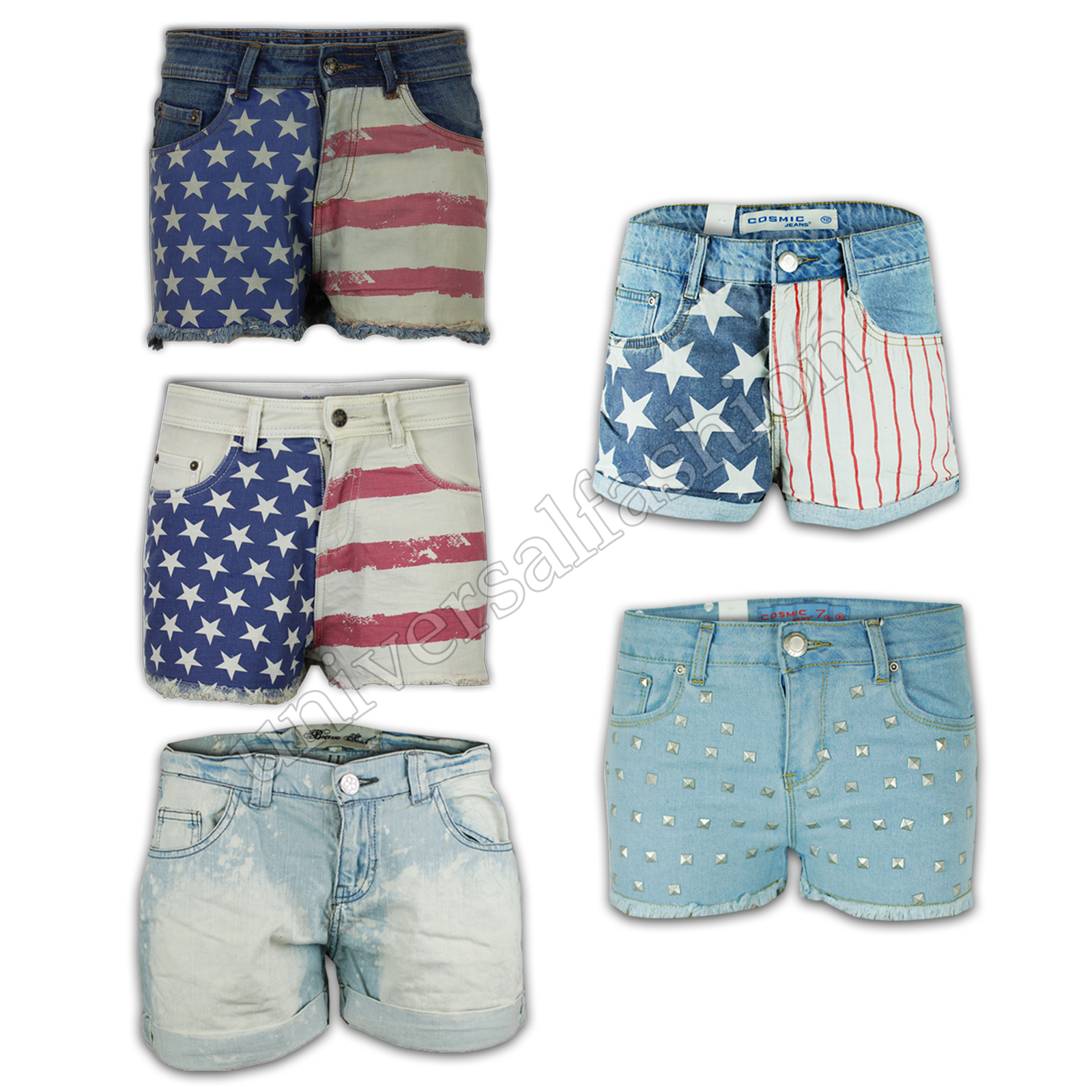 Ladies Shorts Women Hot Pants USA American Flag Denim Mini Casual ...