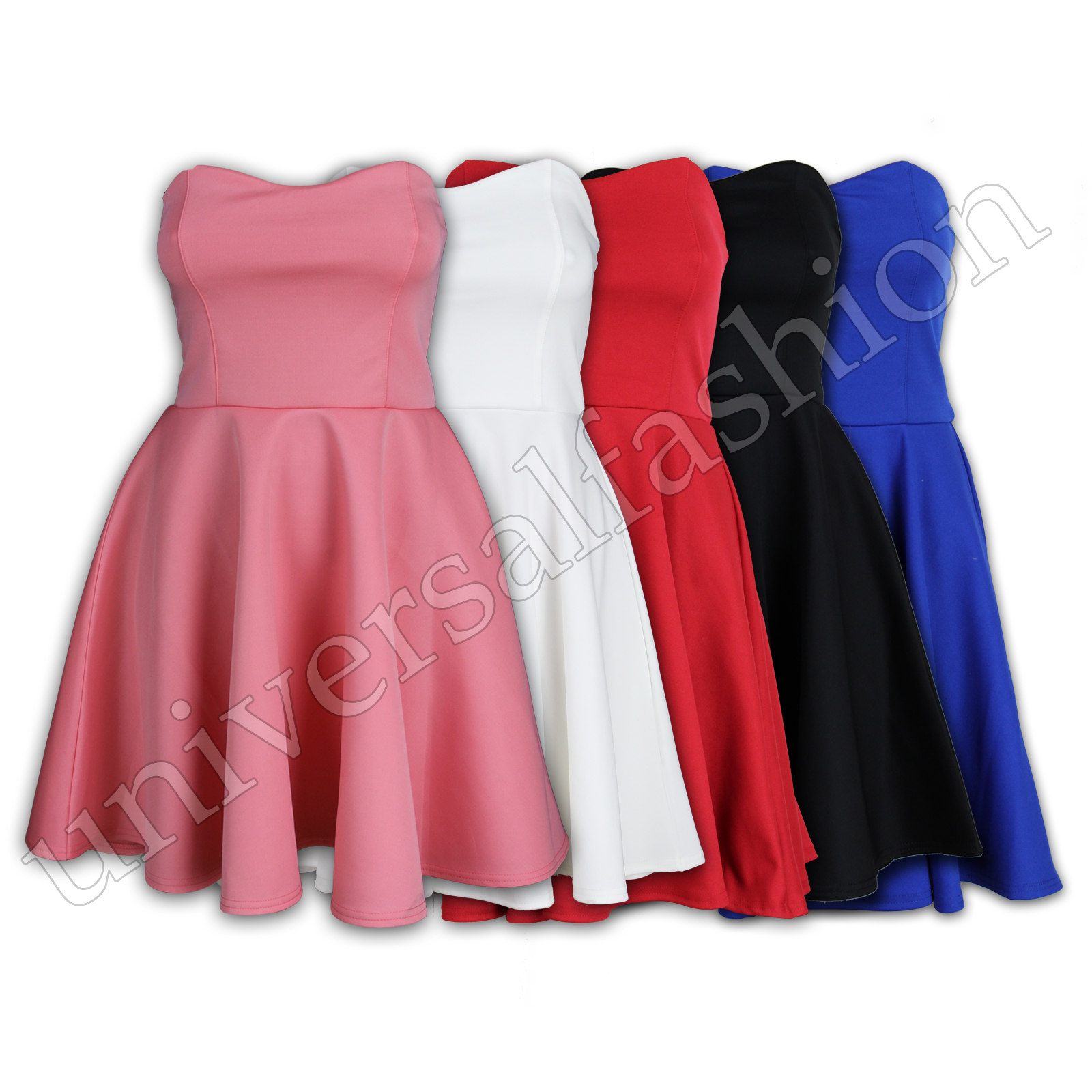 Ladies Dress Womens Skater Padded Boobtube Bandeau Top Pleated Clubwear Party