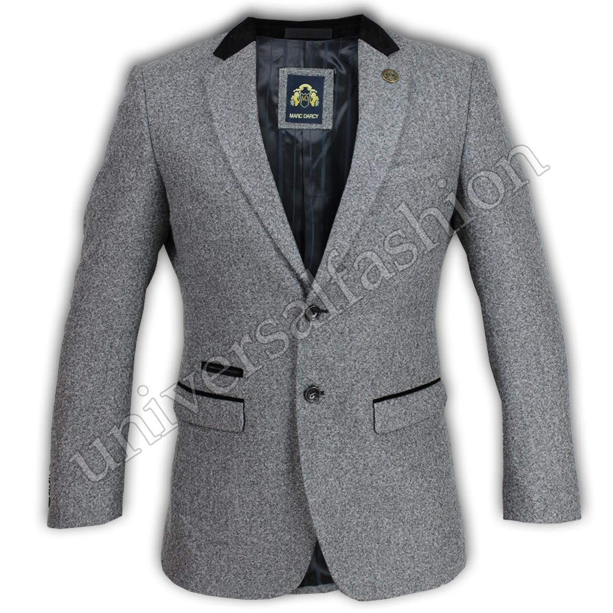 Mens-Blazer-Marc-Darcy-Coat-Formal-Suit-Jacket-Patches-Herringbone-Designer-New