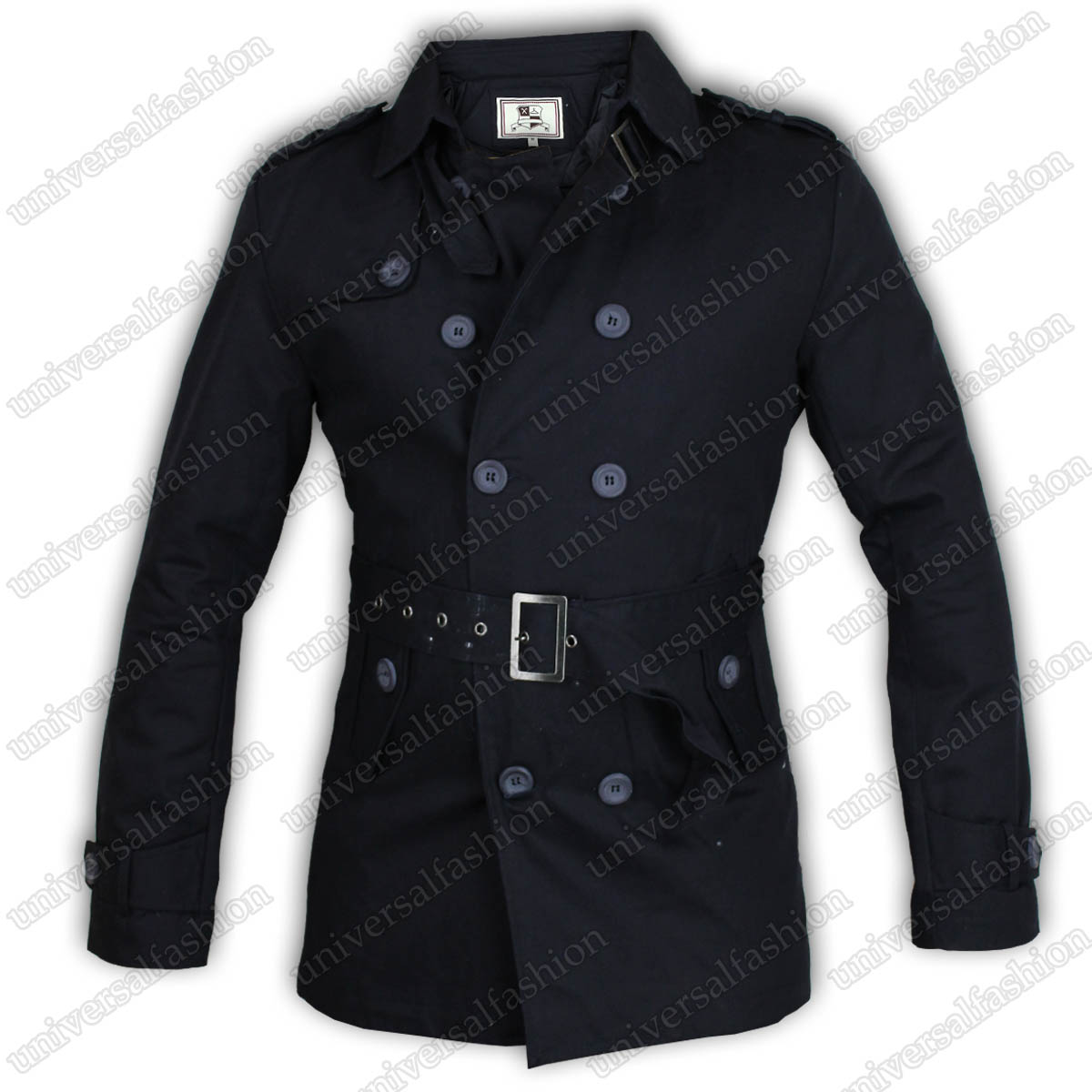 Mens Jacket Brave Soul Mac Trench Coat Military Double Breasted ...
