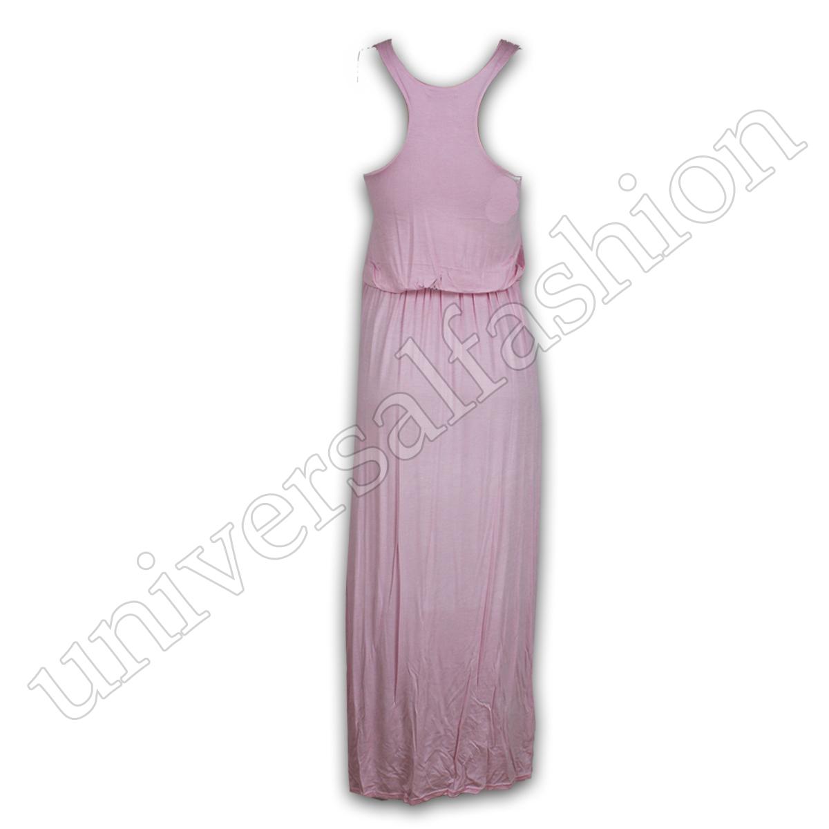 Mesdames robe maxi femme Toga Débardeur Dos Nageur Jersey Uni Long Summer Party nouveau