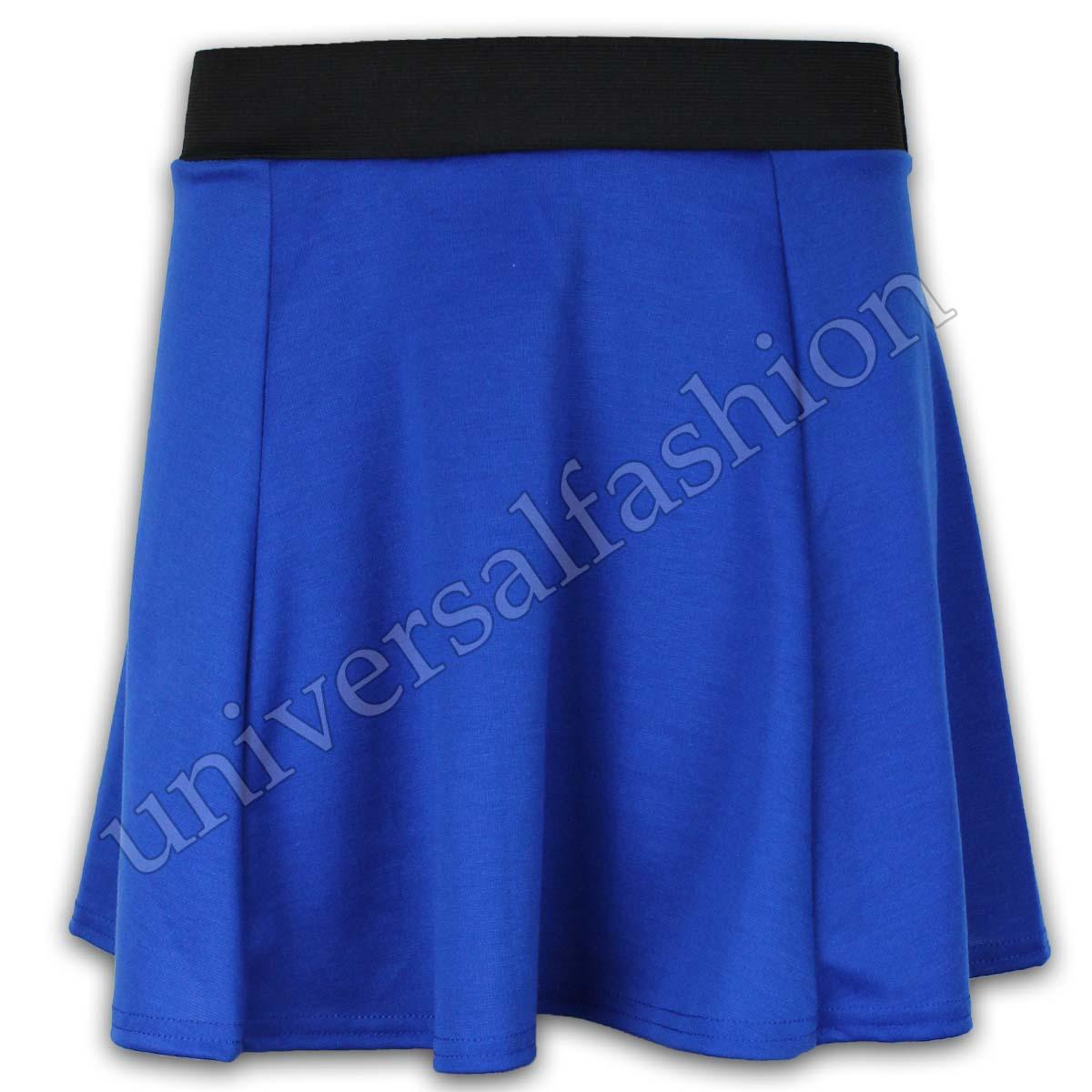 Ladies Skirt Women Mini Plain Ckeck Skater Monochrome Jersey Flared Work New