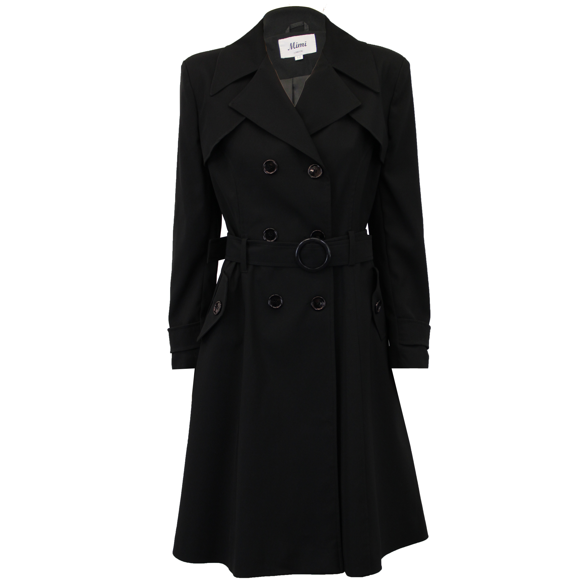 Ladies Coat Womens Jacket Double Breasted Trench BELT Long ...