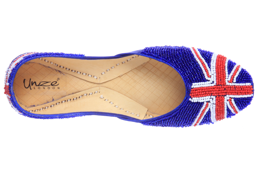 Unze Union Jack Patterned Indian Khussa  - Uk