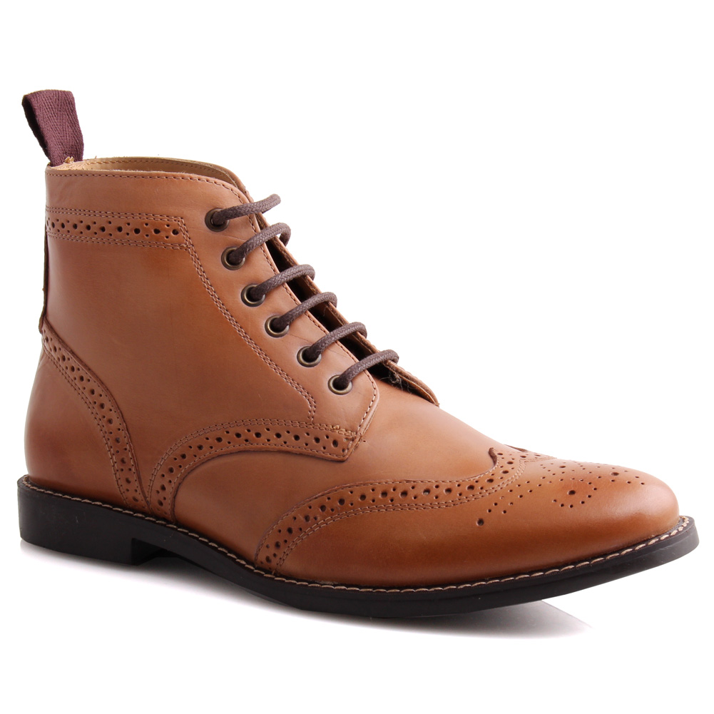 unze mens leather lace up brogue ankle boots