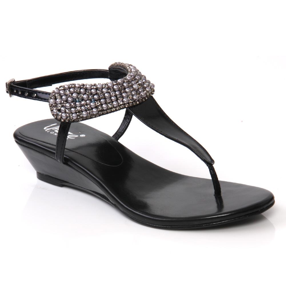 Black sandals uk - Unze Samm Girls Kids Wedge Heel Sandals Size Uk 1 13 Black