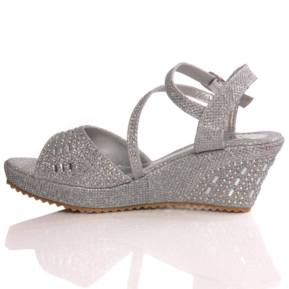 UNZE NEW GIRLS BENTA WEDGE FASHION WEDDING SANDALS SILVER