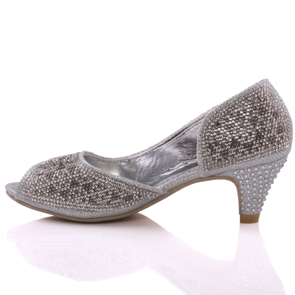 UNZE GIRLS RYSTAH EMBELLISHED PEEP TOE COURT SHOES UK SIZE