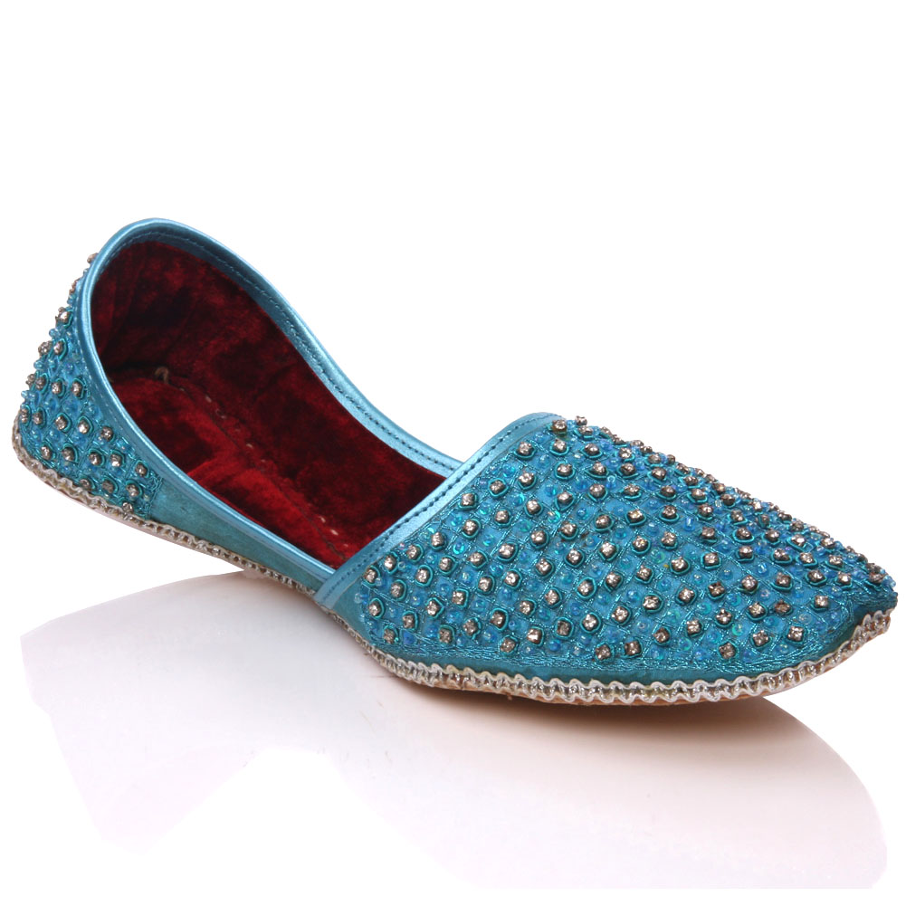 UNZE GS3881 MENS LEATHER INDIAN KHUSSA SHOES SIZE UK 6 - 13 TURQUOISE