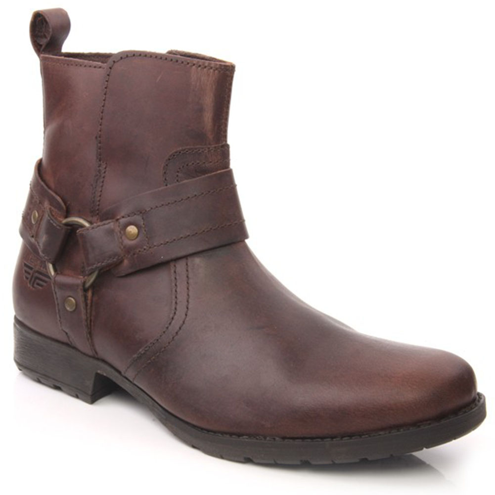 unze lili mens leather buckled zip up ankle winter boots