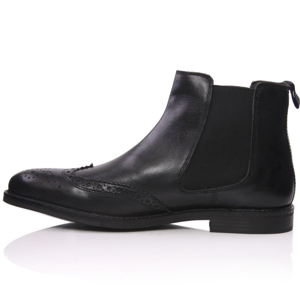 unze eula leather brogues pull on chelsea boots size