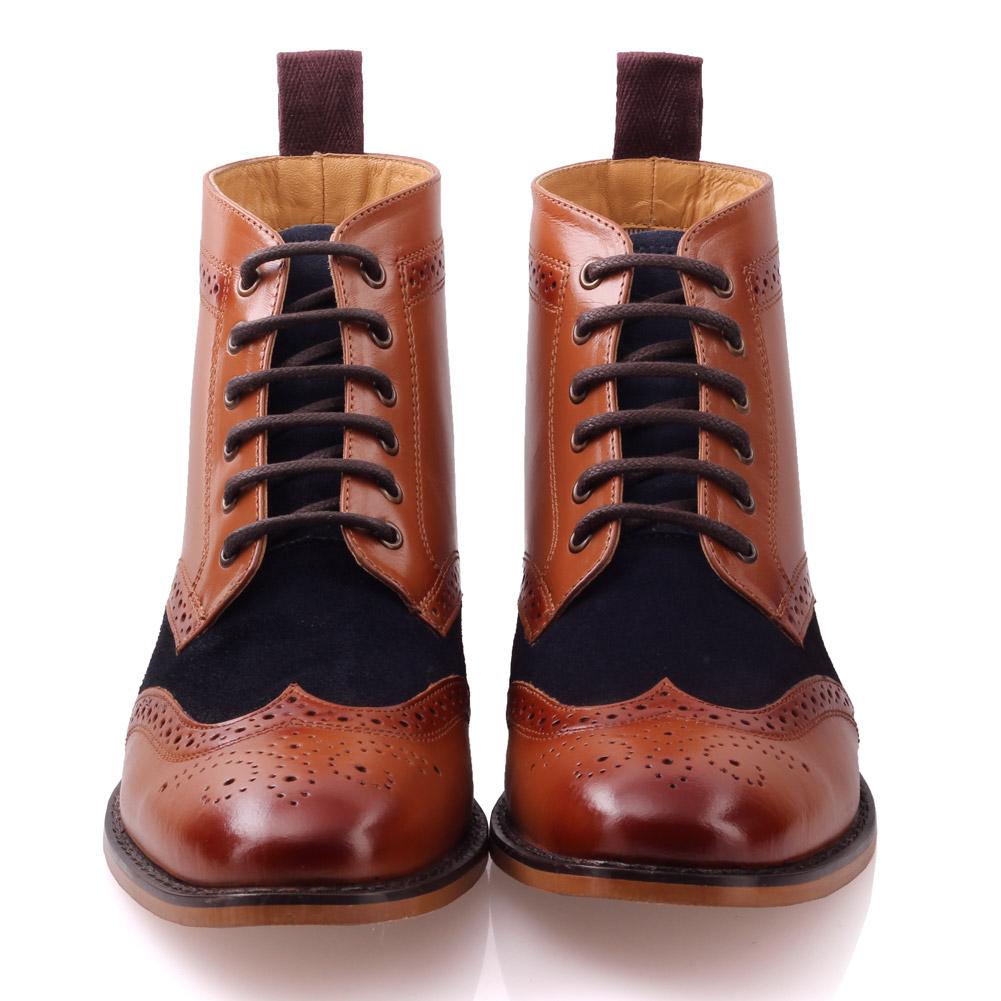unze mens bourne leather boots smart formal brogue