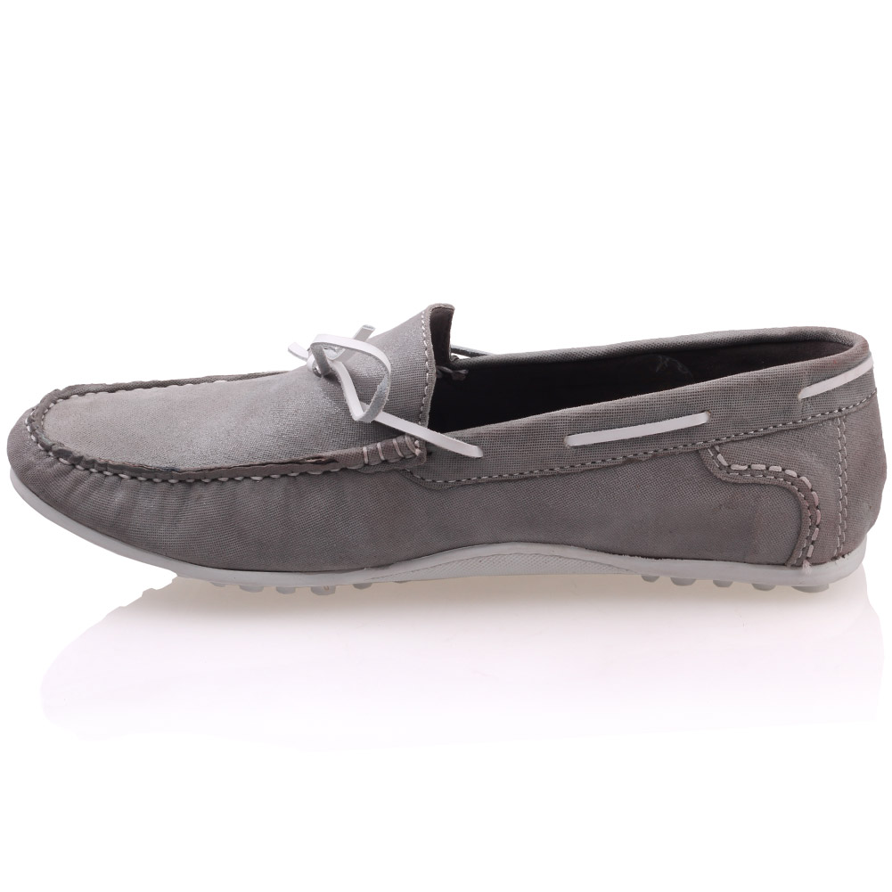 unze mens grisby leather moccasins shoes uk size 6 12 grey