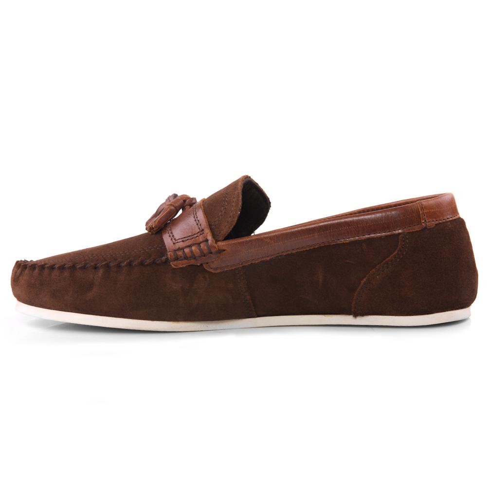 unze mens hougton suede moccasin shoes uk size 7 11 brown