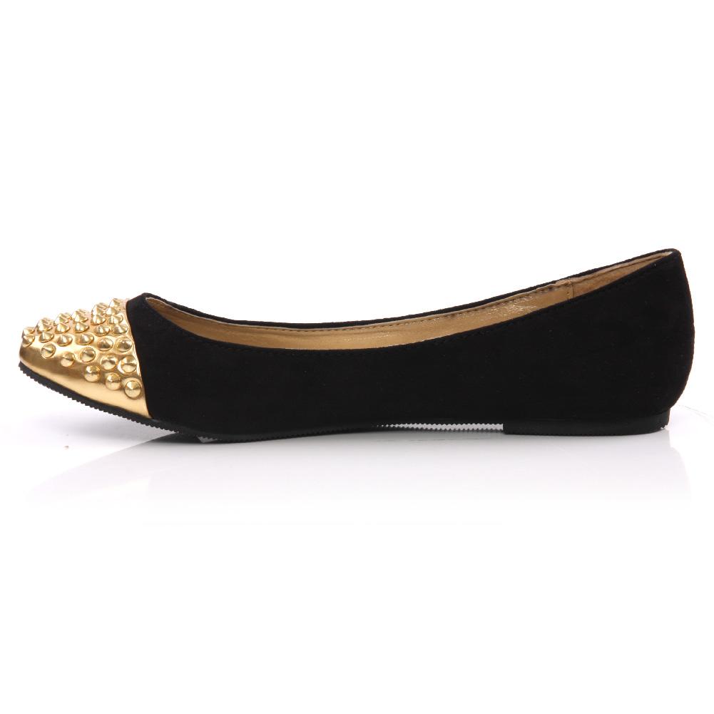 unze auro womens flat pointy toe pumps shoes size uk 3