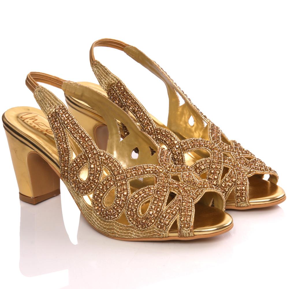 Unze womens tara embellished bridal wedding sandals size 3 for Gold dress sandals for wedding