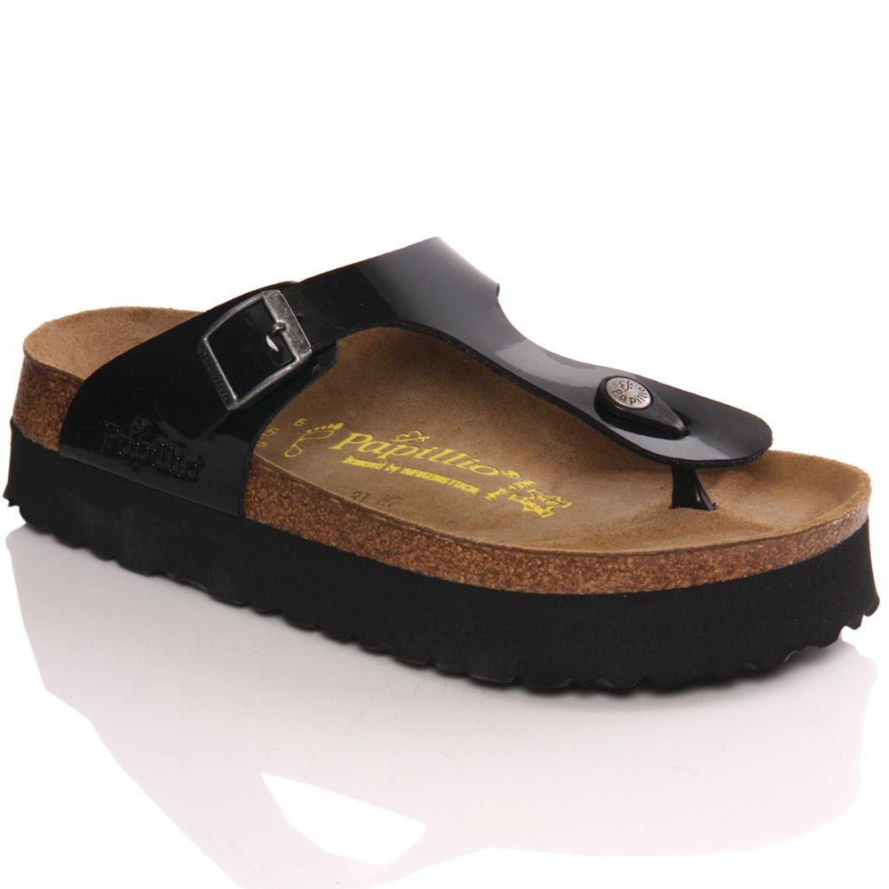 Papillio by birkenstock gizeh women s platform sandals size 3 8 black