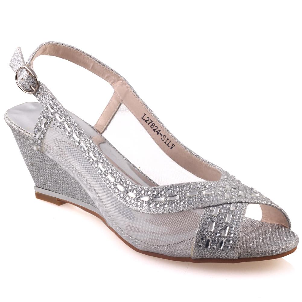 unze womens shaheny wedge wedding sandals uk size 3 8 silver
