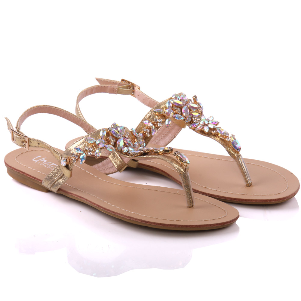 Model Womens Turfi Flat Embellished Summer Sandals