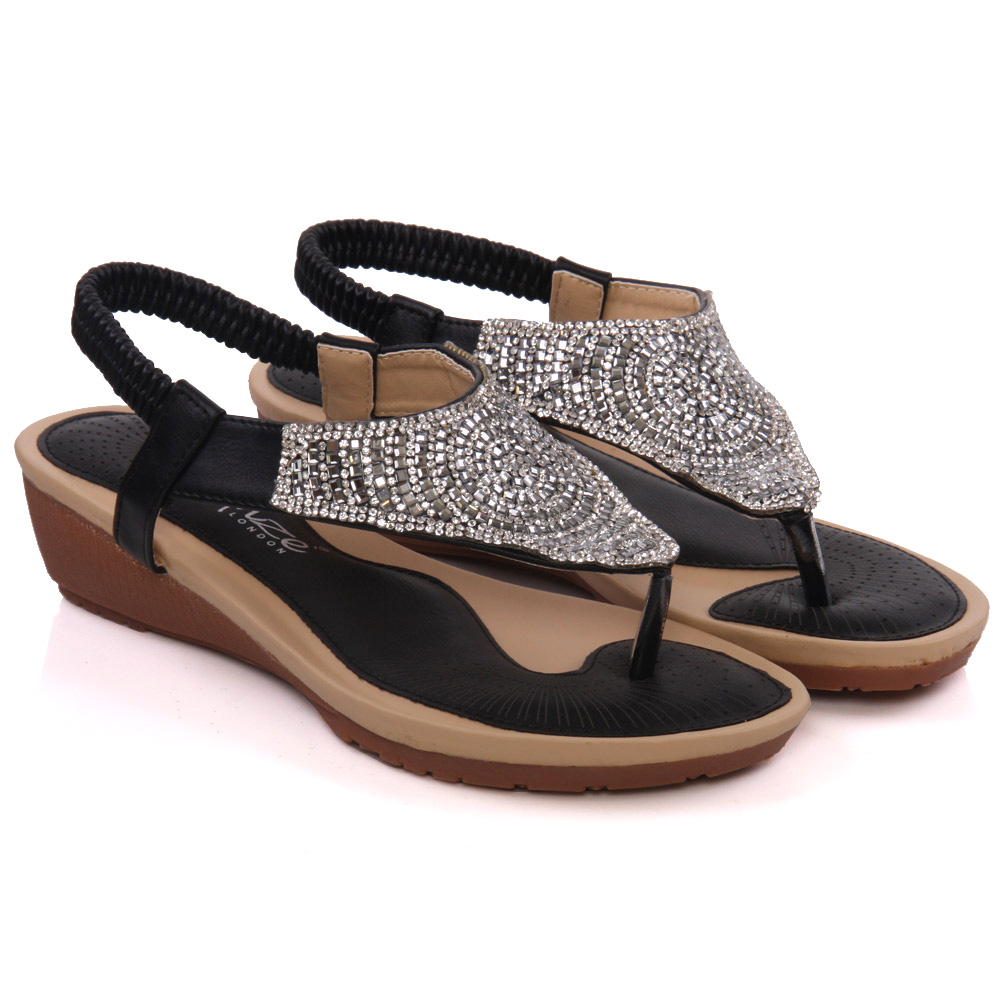 Awesome Womens Mimie Flat Embellished Thong Sandals