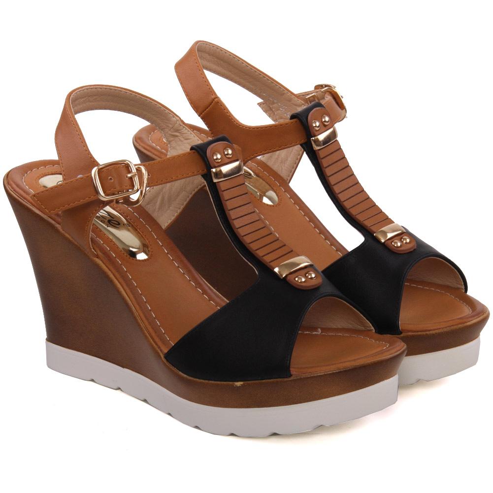 Unze Womens Fila Platform Wedge Sandals Uk Size 3 8 Black