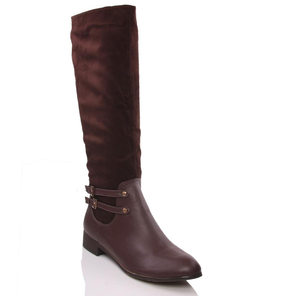unze yvet womens knee high block heel winter boots size