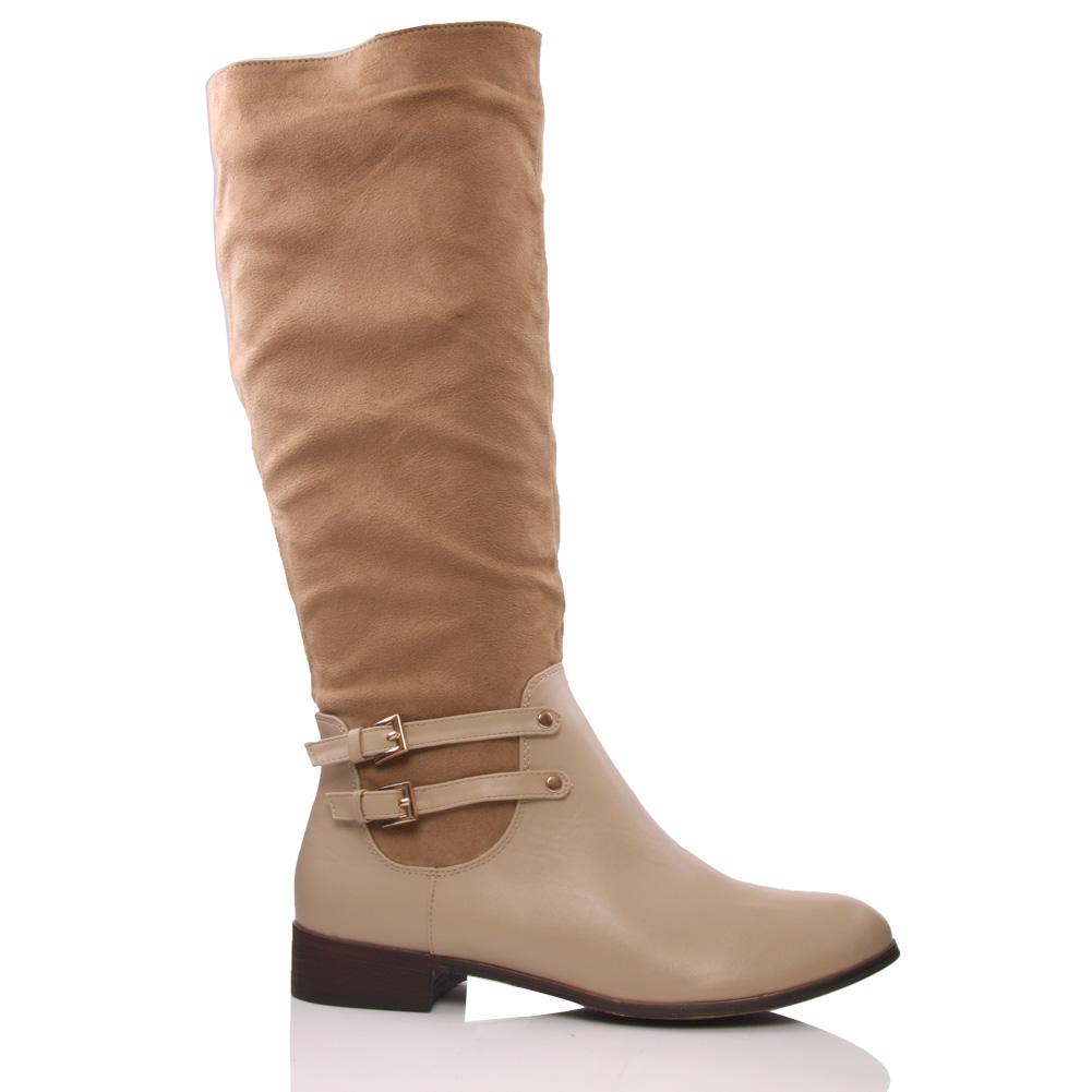 unze kell womens knee high block heel winter boots size