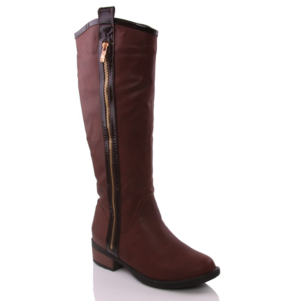 unze womens judas knee high zippy winter riding boots uk