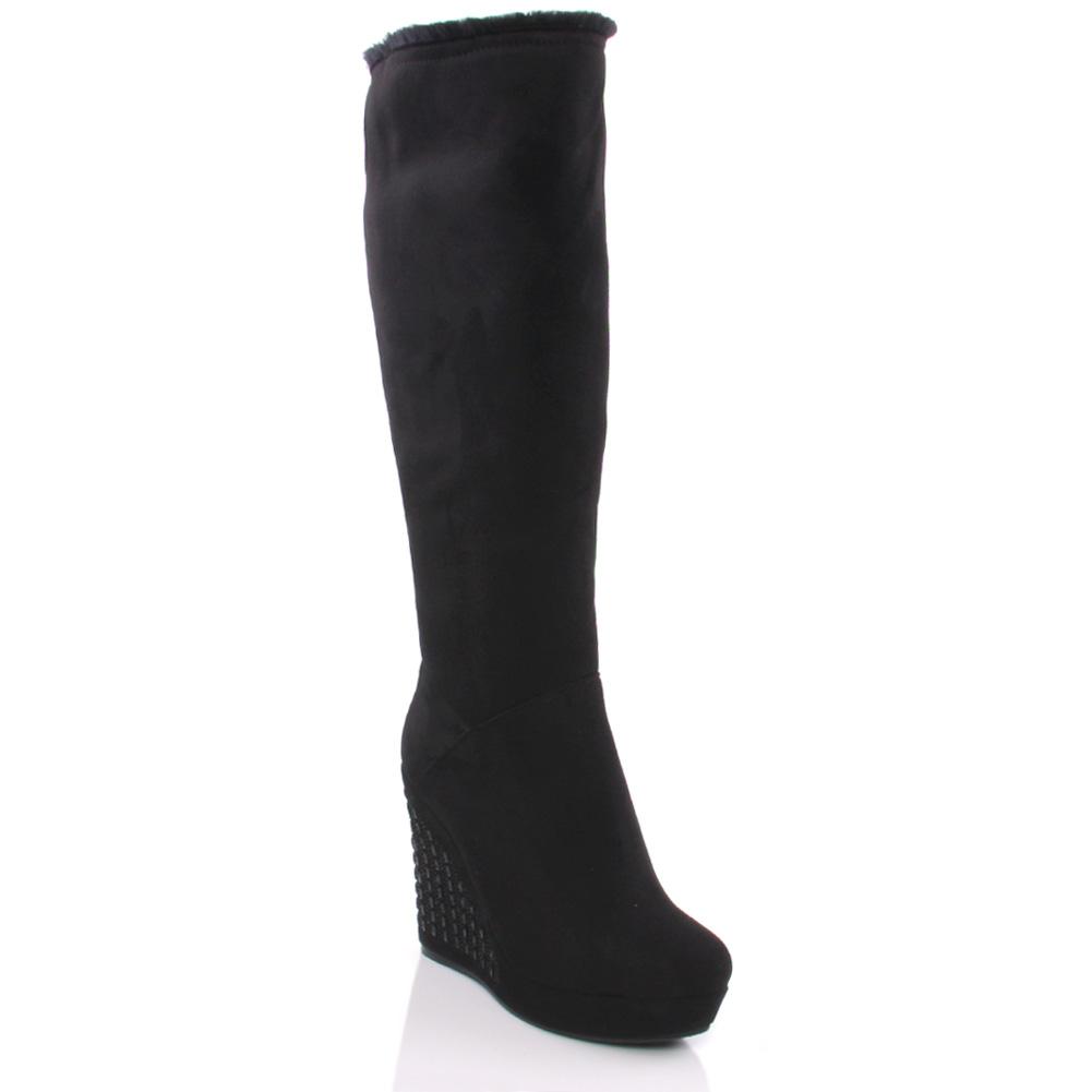 unze lesl womens suede knee high heel boots size uk 3 8