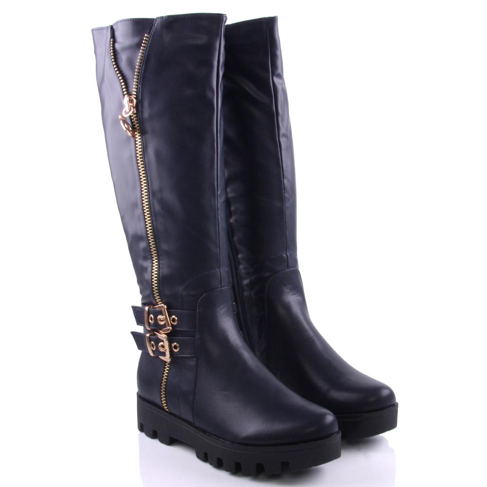 unze womens becky decorated zipped knee high boots